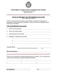 "Form TPE-10 ""Notice of Proposed Task Performance Evaluation"" - Oregon"