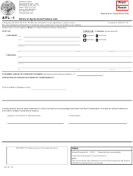 "Form APL-1 ""Notice of Agricultural Produce Lien"" - Oregon"