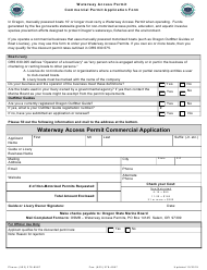 """Waterway Access Permit Commercial Application Form"" - Oregon"