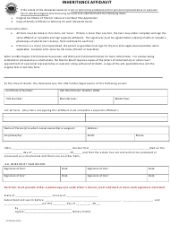 "Form 250-R09 ""Inheritance Affidavit"" - Oregon"