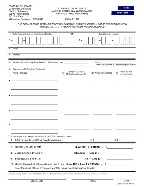 Form 9114W  Printable Pdf
