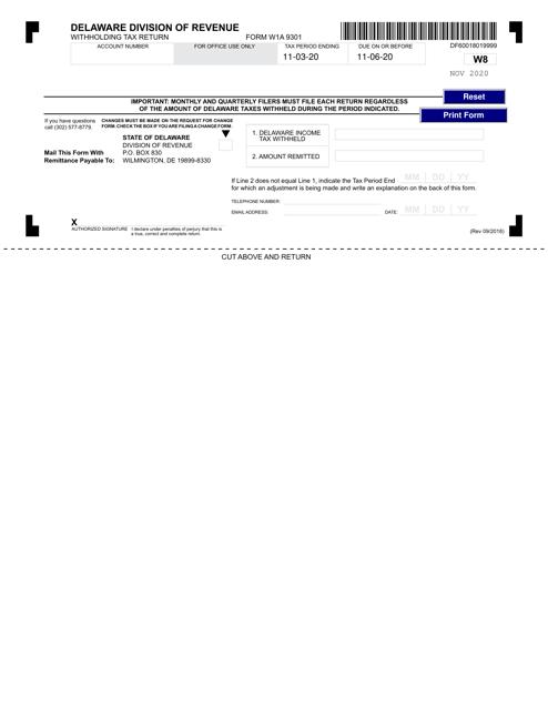 Form W1A 9301 2020 Printable Pdf