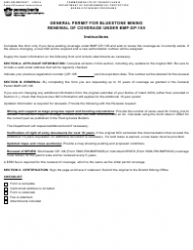 "Form 5600-PM-BMP0027 ""General Permit for Bluestone Mining Renewal of Coverage Under Bmp-Gp-105"" - Pennsylvania"