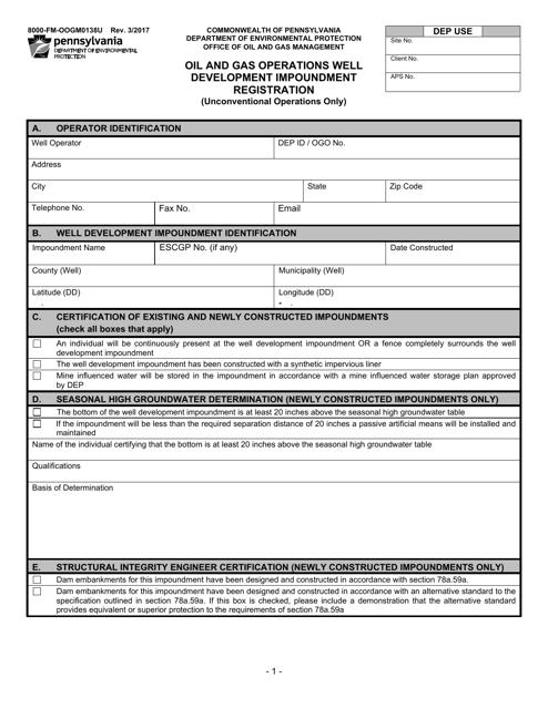 Form 8000-FM-OOGM0138U  Printable Pdf
