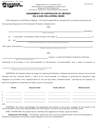 "Form 1430-FM-BOS0150 ""Assignment of Certificate of Deposit Oil & Gas Collateral Bond"" - Pennsylvania"