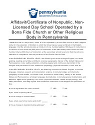 """""""Affidavit/Certificate of Nonpublic, Non-licensed Day School Operated by a Bona Fide Church or Other Religious Body in Pennsylvania"""" - Pennsylvania"""