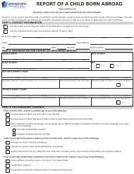 "Form HD002001 ""Report of a Child Born Abroad"" - Pennsylvania"