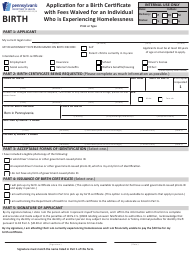 """Form HD1106F-H """"Application for a Birth Certificate With Fees Waived for an Individual Who Is Experiencing Homelessness"""" - Pennsylvania"""