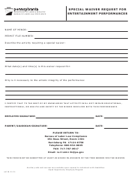"Form LLC-76 ""Special Waiver Request for Entertainment Performances"" - Pennsylvania"