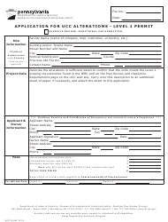 "Form UCC-15 ""Application for Ucc Alterations - Level 1 Permit"" - Pennsylvania"