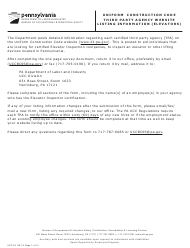 "Form UCC-34 ""Uniform Construction Code Third-Party Agency Website Listing Information (Elevators)"" - Pennsylvania"