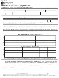 "Form DL-20 ""Probationary License (Pl) Petition"" - Pennsylvania"