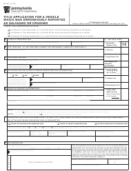 "Form MV-6E ""Title Application for a Vehicle Which Was Erroneously Reported as Salvaged or Crushed"" - Pennsylvania"