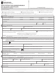"Form MV-6 ""Application for Nonrepairable or Salvage Certificate"" - Pennsylvania"
