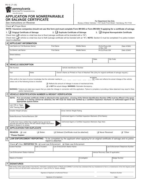 Form MV-6  Printable Pdf
