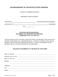 """Form OC-03 """"Guardianship of Incapacitated Person: Petition for Adjudication/Statement of Proposed Distribution Pursuant to Pa. O.c. Rule 2.4"""" - Pennsylvania"""