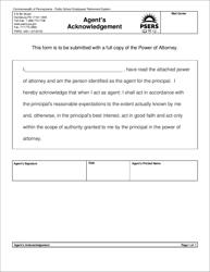 "Form PSRS-248-1 ""Agent's Acknowledgement"" - Pennsylvania"