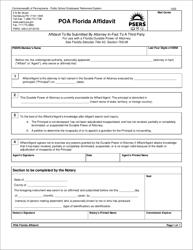 "Form PSRS-248-2 ""Poa Florida Affidavit"" - Pennsylvania"