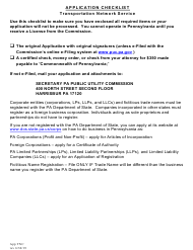 """Application for Transportation Network Service License"" - Pennsylvania"