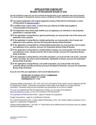 """""""Application for Broker of Household Goods in Use"""" - Pennsylvania"""