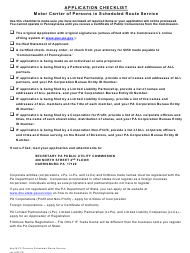 """""""Application for Motor Common Carrier of Persons in Scheduled Route Service"""" - Pennsylvania"""