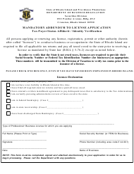 """Mandatory Addendum to License Application - Tax Payer Status Affidavit/Identity Verification"" - Rhode Island"