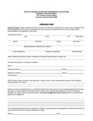 """""""Complaint Form"""" - Rhode Island"""