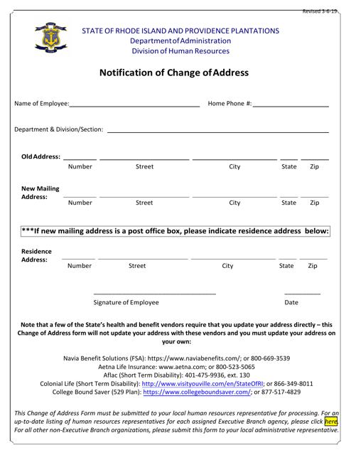 """Notification of Change of Address"" - Rhode Island Download Pdf"