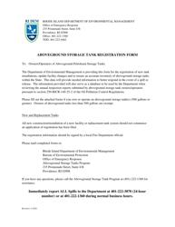 """""""Aboveground Storage Tank Registration Form"""" - Rhode Island"""