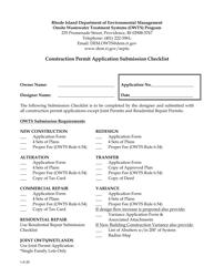 """Construction Permit Application Submission Checklist"" - Rhode Island"
