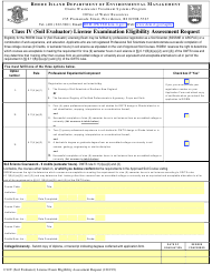 "Form CI-IV ""Class IV (Soil Evaluator) License Examination Eligibility Assessment Request"" - Rhode Island"