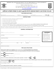 """""""Application for Class I and Ii Owts Designer's License Exam"""" - Rhode Island"""
