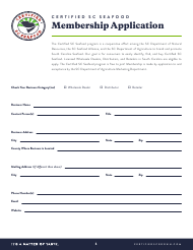 """Certified Sc Seafood Membership Application"" - South Carolina"