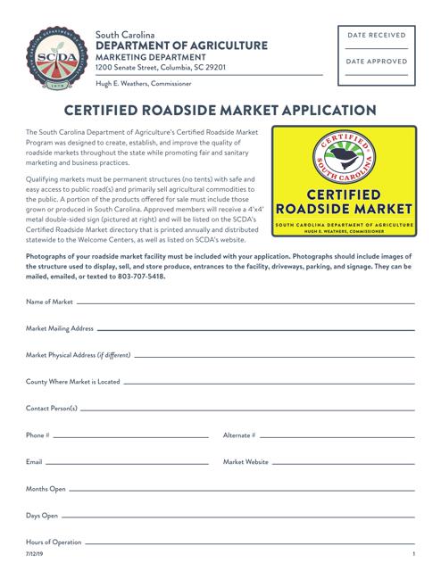"""Certified Roadside Market Application"" - South Carolina Download Pdf"