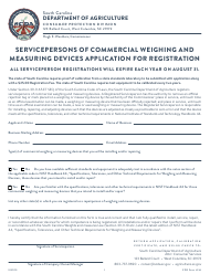 "CPD Form 314 ""Servicepersons of Commercial Weighing and Measuring Devices Application for Registration"" - South Carolina"
