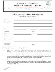 "SCDCA Form PEO-08 ""Health Insurance Affidavit of Insurance"" - South Carolina"