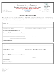 "SCDCA Form PEO-12 ""Cross Guarantee Form"" - South Carolina"