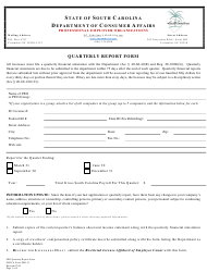 "SCDCA Form PEO-13 ""Quarterly Report Form"" - South Carolina"