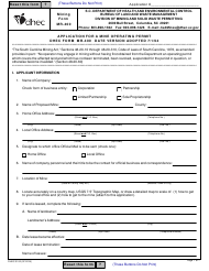 "Form MR-400 (DHEC Form 3102) ""Application for a Mine Operating Permit"" - South Carolina"