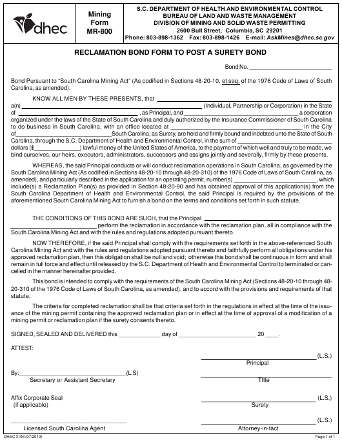 Form MR-800 (DHEC Form 3106)  Printable Pdf