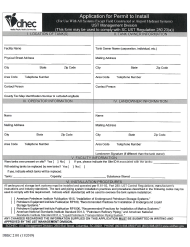 "DHEC Form 2101 ""Application for Permit to Install"" - South Carolina"