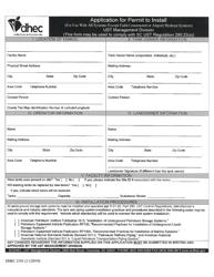 "DHEC Form 2101 ""Application for Permit to Install"" - South Carolina"