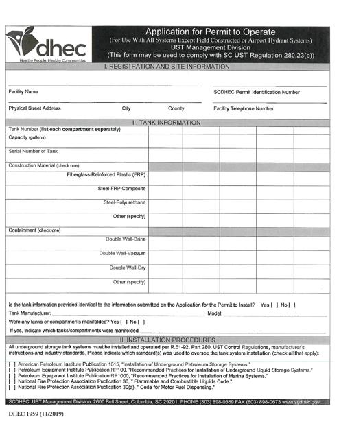 DHEC Form 1959 Printable Pdf