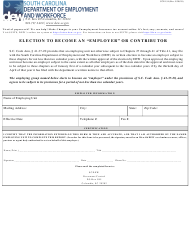 """Form UCE-154 """"Election to Become an '""""employer'"""" or Contributor"""" - South Carolina"""