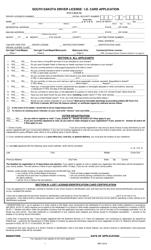 """South Dakota Driver License / I.d. Card Application"" - South Dakota"