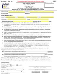 "SD Form 1334 (DOR-MV215) ""Affidavit of Vehicle Ownership by Succession"" - South Dakota"