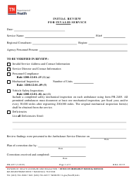 "Form PH-4237 ""Initial Review for Invalid Service"" - Tennessee"