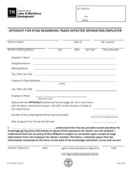 "Form LB-1049 ""Affidavit for Rtaa Regarding Trade Affected Separating Employer"" - Tennessee"