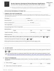 "Form PWD1024 ""Exotic Species Zoological Permit Renewal Application"" - Texas"