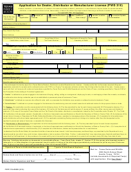 "Form PWD310 ""Application for Dealer, Distributor or Manufacturer License"" - Texas"